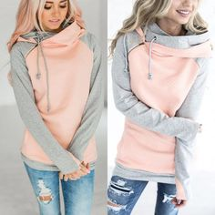 Autumn New Fashion Women Ladies Long Sleeve Sweatshirt Loose Warm Color  Patchwork Hooded Pullover Tops S M L Xl b3682ecf9