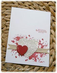 Marlenou chez Stampin Up - gorgeous grunge stampin up Valentines Day Cards Handmade, Greeting Cards Handmade, Creative Cards, Anniversary Cards, Diy Cards, Scrapbook Cards, Homemade Cards, Stampin Up Cards, Cardmaking