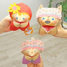 Paper Fortune Teller Puppet(Little Red Riding Hood) - Play - Educational - Paper Craft - Canon Creative Park Diy For Kids, Crafts For Kids, Arts And Crafts, Diy Crafts, Paper Crafts Origami, Paper Crafting, Fairy Tales Unit, Red Riding Hood, Free Paper
