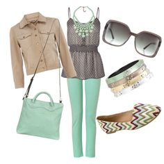 peplum top w/ chevron striped flats. love all of this but the jacket, however I wouldn't put the purse and bracelets with the rest of the outfit because it'd be waaaay too matchy-matchy!