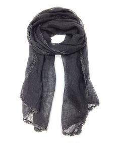 Look at this #zulilyfind! Charcoal Floral-Trim Linen Scarf by East Cloud #zulilyfinds