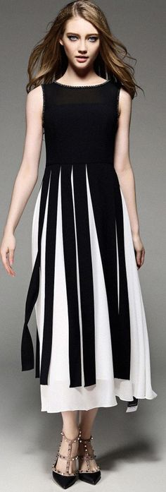 Black and White Beadings Midi Dress