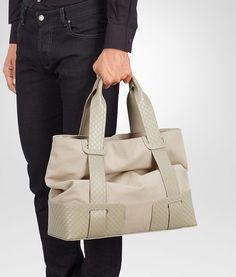 SAND CANVAS INTRECCIO SCOLPITO DETAILS TOTE BAG - Men's Bottega Veneta® Tote Bag - Shop at the Official Online Store