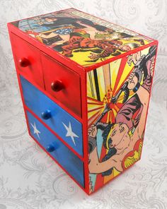 This item is custom and made to order. It takes 5 - 7 days to complete. Golden Age Wonder Woman - red and blue - Jewelry Box Four drawer