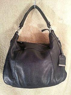 Cole Haan Linley Rounded Hobo Black Leather Purse Handbag Bag | eBay