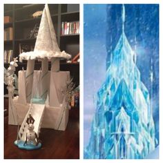 Disney Frozen Elsa's ice palace craft: cardboard box, paper towel roll tubes, paper plates, glitter glue galore!