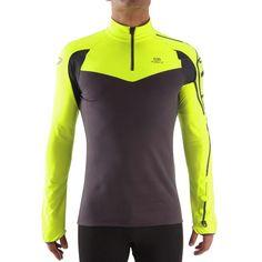 46c47aff397fe Camiseta térmica de manga larga de running de hombre Kalenji KPlay amarilla  y gris