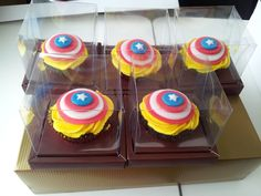 Captain America cuppies for my son's 7th birthday