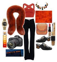 """street photographer"" by comerttaylan ❤ liked on Polyvore featuring Khaite, STELLA McCARTNEY, J Brand, Alexander McQueen, Eos, Bobbi Brown Cosmetics, Yves Saint Laurent, HUGO, Rolex and Gucci"