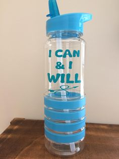 Gym water bottle pink blue green quote I can and I will sportsbottle motivation gym gift Christmas flip lid red quote sports by LoveartsGifts on Etsy Gym Water Bottle, Water Bottles, Red And Pink, Pink Blue, Blue Green, Blue Quotes, Motivational Gifts, Gin, Christmas Gifts