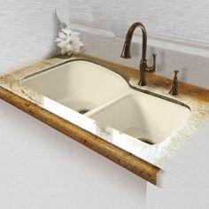 Miseno MCI68-4UM 33 Double Basin Undermount Cast Iron Kitchen Sink (N/A - Cream Finish), Biscuit