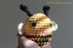 BEE  Amigurumi rattle Bee  Crochet kids rattle by MyWarmFriends, €12.00