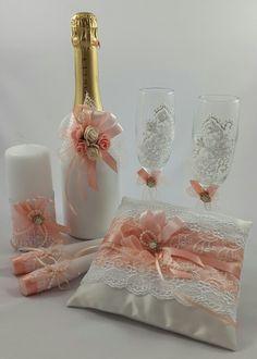 Свадебный комплект в персиковом цвете.