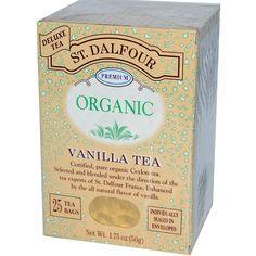 St. Dalfour, Organic, Vanilla Tea, 25 Tea Bags, 1.75 oz (50 g) - iHerb.com. Bruk gjerne rabattkoden min (CEC956) hvis du vil handle på iHerb for første gang. Da får du $5 i rabatt på din første ordre (eller $10 om du handler for over $40), og jeg blir kjempeglad, siden jeg får poeng som jeg kan handle for på iHerb. :-)