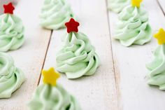 Christmas tree peppermint extract meringues. Pretty, guilt-free, lighter than air, low calorie holiday treats.