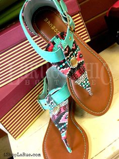 ☮ American Hippie Bohemian Style ~ Boho Turquoise Tribal Print Sandals ❤️