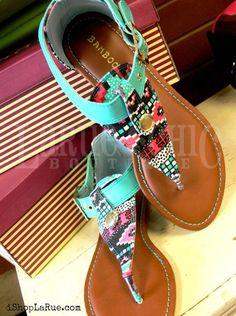 Turquoise Tribal Print Sandals