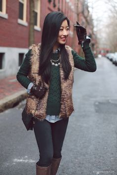 Winter layers: petite-friendly faux fur vest (Extra Petite) layers with fur. (already have one fur vest, it is gray tones… I'm not apposed to having more! Winter Pullover Outfits, Fur Vest Outfits, Casual Winter Outfits, Fall Outfits, Outfit Winter, Extra Petite, Look Fashion, Fashion Outfits, Fashion Trends