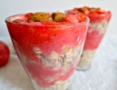 Overnight Oats with Apple, Strawberry and Chia Seeds