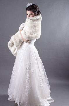faux fur mink bridal wrap ivory by FoxgloveBridal on Etsy, $150.00