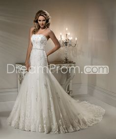 Elegant Trumpet/Mermaid Strapless Floor-Length Chapel Lace Wedding Dresses  /would be beautiful with a wrap or lace jacket