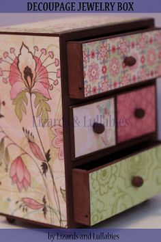 Lizards and Lullabies: Tutorial: Modge Podge Decoupage Wooden Jewelry Box...