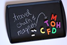 Genius! Going make one of these before we make the drive to the beach this summer. :) Sunny with a Chance of Sprinkles: Toddler Activity: DIY Travel Chalk & Magnet Board