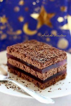 Ciasto nocka Dużo kremu kakaowe i galaretki Unique Desserts, Köstliche Desserts, Delicious Desserts, Sweet Recipes, Cake Recipes, Dessert Recipes, Different Cakes, Polish Recipes, Food Humor