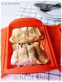 In my little kitchen: Salmón con verduras en estuche Lekue