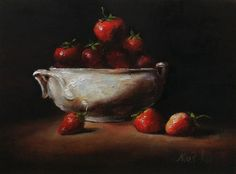 Sold. Strawberries in White Original Oil Painting by Nina R. Aide. Still life 6x8 canvas #strawberries#still life#sale#original art
