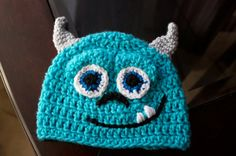 Crochet toddler turquoise monsters inc Sulley hat 6-12 months