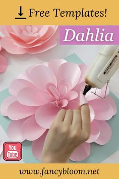 "You can make this Dahlia paper flower very easy with my step-by-step video tutorial and free svg and pdf templates! Watch the full video on YouTube channel FancyBloom This free Dahlia tutorial is part of ""Paper Flower Backdrop DIY KIT"". This is a templates kit for 5 different paper flowers plus templates for leaves with detailed video tutorials, so you can easily make your own paper flower backdrop really fast. Make sure to check it out! Paper Dahlia, Paper Peonies, Dahlia Flower, How To Make Paper Flowers, Large Paper Flowers, Crepe Paper Flowers, Diy Backdrop, Paper Flower Backdrop, Diy Paper"