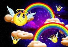 Angel Smiley - Fantasy Wallpaper ID 186630 - Desktop Nexus Abstract Cloud Wallpaper, Rainbow Wallpaper, Rainbow Cloud, Over The Rainbow, Smileys, Emoji Pictures, Funny Emoji, Romantic Pictures, Beautiful Gif