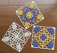 Felissimo Turkish Tile nº 14 編んでる? トルコタイル~レース編みの会*No.14 Crochet Blocks, Crochet Squares, Crochet Granny, Crochet Motif, Crochet Doilies, Crochet Patterns, Granny Squares, Granny Square Blanket, New Things To Try