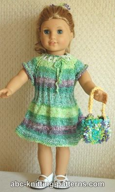Ravelry: American Girl Doll Drawstring Raglan Summer Dress pattern by Elaine Phillips Knitted Doll Patterns, Doll Dress Patterns, Knitted Dolls, Knitting Patterns, Crochet Patterns, Free Knitting, Knitting Dolls Clothes, Ag Doll Clothes, Crochet Doll Clothes