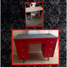 My $3 thrift store desk, used red paint and fabric:)