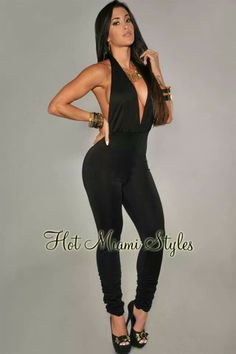 Black Deep V Neck Halter Jumpsuit Claudia Sampedro, Halter Jumpsuit, Body Painting, My Girl, Night Out, Stylish, Lady, My Style, Womens Fashion