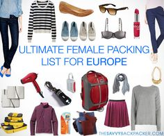 The Ultimate Travel Packing List — Female Packing Guide for Traveling Europe in STYLE!  BUT NO HAIRDRYER!!  - Waste of space!