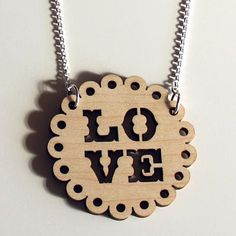 wooden love necklace