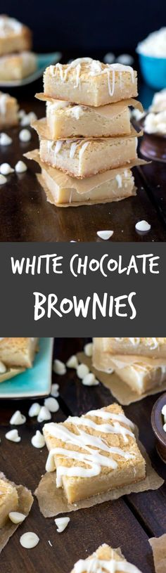 Fudgy, chewy, white chocolate brownies drizzled with even more white chocolate. bound to make you forget everything you thought you knew about brownies Brownie Recipes, Chocolate Recipes, Cookie Recipes, Dessert Recipes, Pretzel Recipes, Keks Dessert, Dessert Bars, Easy Desserts, Delicious Desserts