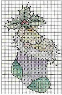 ♥ Cross-stitch Christmas Mouse ... no color chart available, just use pattern chart as your color guide.. or choose your own colors...