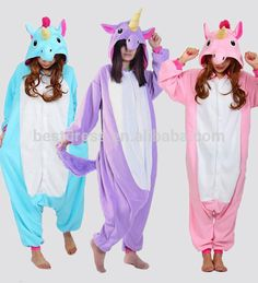 2016 Blue And Pink Unicorn Onesie Pajama Winter Sleepwear Pegasus Animal Pajamas