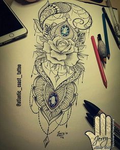 rose tattoo idea drawing, pretty lace tattoo arm