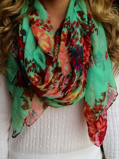 Mint floral scarf. Get in my closet! I have a draw full of scarves. I think I have an obsession ;)