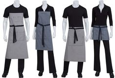 The Portland Apron is made from cotton/poly denim, giving comfort and flexibility. Horizontal and vertical stripes with contrasted ties for a unique look. Cafe Uniform, Waiter Uniform, Hotel Uniform, Staff Uniforms, Work Uniforms, Restaurant Uniforms, Asian Restaurants, Uniform Design, Professional Look