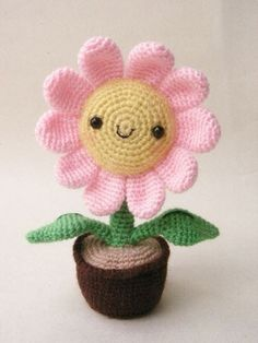Pink Sun Flower  PDF crochet pattern by jaravee on Etsy, $5.00