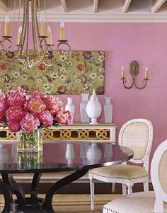 Floral Print Dining Room.