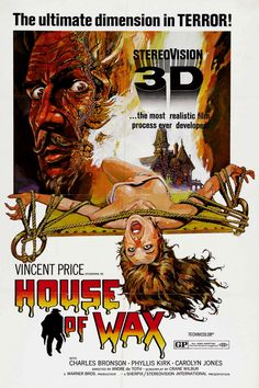 """Starring Vincent Price, Classic horror movie about an insane sculptor that builds a wax museum out of things that used to be alive."" Find HOUSE OF WAX in our catalog: http://highlandpark.bibliocommons.com/item/show/848116035_house_of_wax"