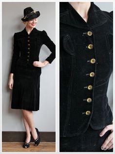1940s Suit // Rosalind Velvet Suit // vintage by dethrosevintage