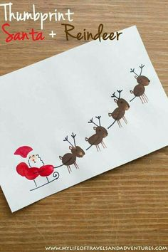 Toddler Christmas Crafts : Thumb Print Santa, Sleigh + Reindeer - A cute Christmas craft for all kids. Easy toddler Christmas crafts that kids of all ages can make. Diy Christmas Cards, Christmas Holidays, Christmas Card Ideas With Kids, Christmas Crafts For Kids To Make Toddlers, Christmas Ornaments, Christmas Decorations For Kids, Diy Ornaments, Christmas Vacation, Teacher Christmas Card